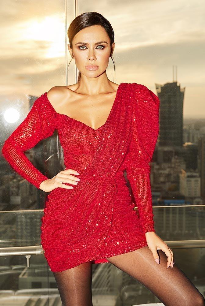 Sukienka asymetryczna cekiny wieczorowa czerwona L