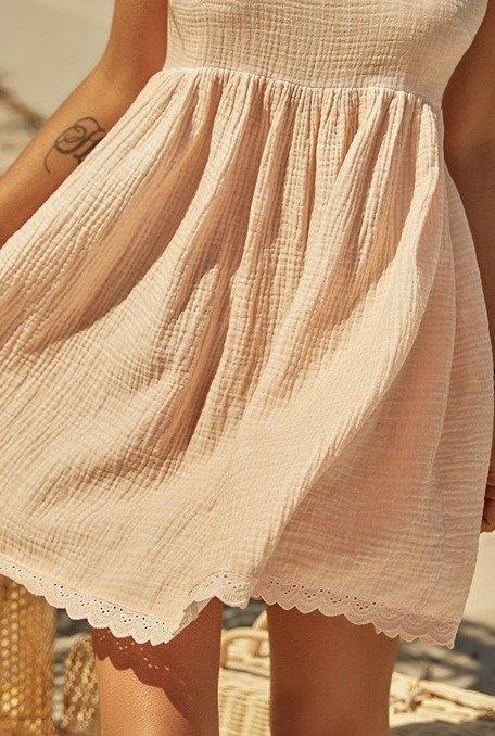 Pia - Brzoskwiniowa sukienka z naturalnej tkaniny