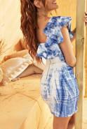 Zucca - Denimowa sukienka z farbowanymi wzorami